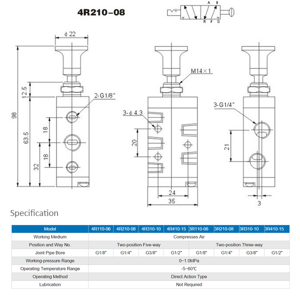 4R Series Hand-draw Valve (Pneumatic Valve) - Dratek